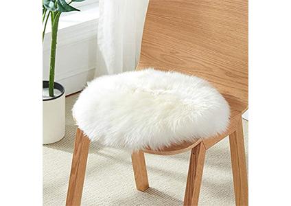 white furry seat cushion